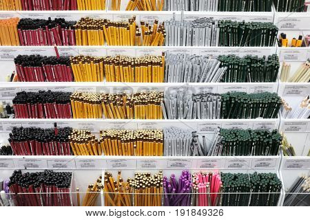 MOSCOW - DEC 30, 2016: Many pencils in Planet of hobbies store, Trading network Planet of hobbies consists of 83 stores in 36 Russian cities