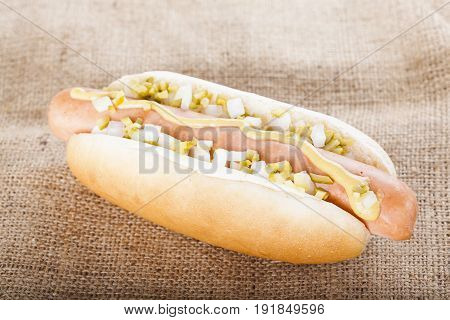 Hot Dog Grill With Mustard, Onion And Pickles