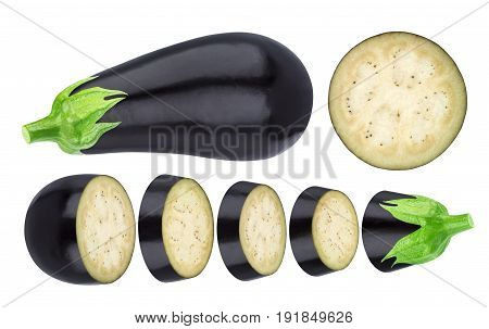 Isolated eggplant. Whole and sliced eggplant isolated on white background, with clipping path