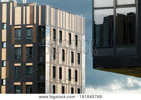 Modern design city apartment building in the city.