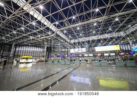 SOCHI, RUSSIA - MAR 4, 2017: Modern Sochi Airport, airport ranks 5th in Russia in passenger turnover (5,263 million passengers)