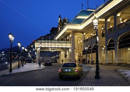 KRASNAYA POLYANA, SOCHI, RUSSIA - MAR 7, 2017: Sochi Casino and Resort at evening
