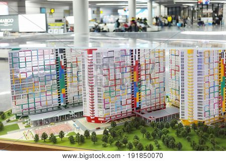 SOCHI, RUSSIA - MAR 4, 2017: Miniature of buildings in Sochi Airport, airport ranks 5th in Russia in passenger turnover (5,263 million passengers)