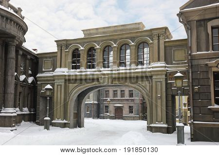 MOSCOW - DEC 9, 2016: Empty street at winter, Decoration Old Moscow was built in 2003 for filming of Mosfilm Studio, text translation - Babkin hosiery trade