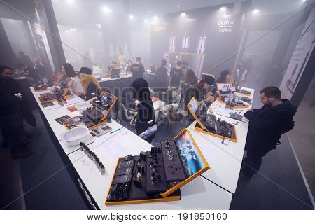 MOSCOW - DEC 10, 2016: Showing of e-cigarettes at Vapexpo MOSCOW - international exhibition and conference of VAPE-industry in Sokolniki Exhibition Center