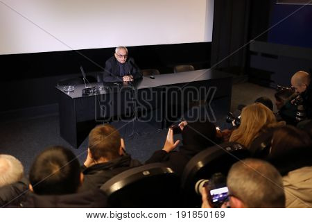 MOSCOW - DEC 9, 2016: Director of Mosfilm cinema concern Karen Shakhnazarov and journalists at press conference
