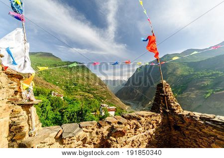 View from whatch tower of tibetan Danba village Soopo in China
