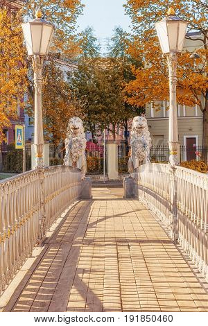 Lion Bridge crosses the Griboedov Canal in St. Petersburg Russia