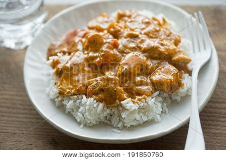 Chicken curry with rice on white plate