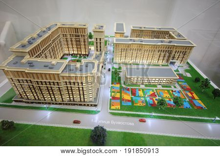 MOSCOW - MAR 16, 2017: Miniature of Heritage residential complex at real estate exhibition in Central House of Artists, 200 companies took part in exhibition