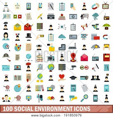 100 social environment icons set in flat style for any design vector illustration