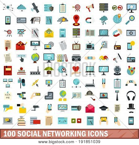100 social networking icons set in flat style for any design vector illustration