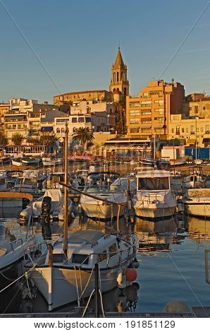 Village Of Palamos, Costa Brava, Girona Province, Catalonia,  Spain