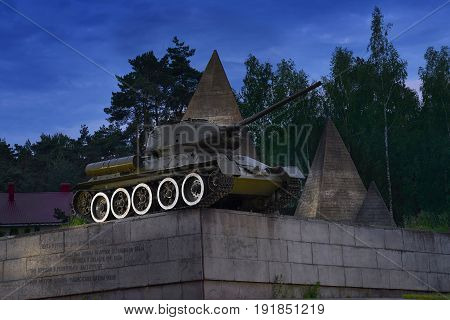 SNEGIRI, MOSCOW, JUN, 17, 2017: Great Patriotic War monument of legendary IIWW victory soviet tank T 34/85 in Lenino Snegiri military historical museum. Famous soviet tanks. Great Victory day 9 of May