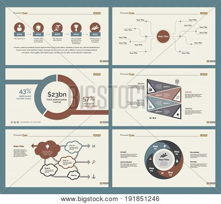 Infographic design set can be used for workflow layout, diagram, annual report, presentation, web design. Business and management concept with process, timing, flow, percentage charts and mind map.