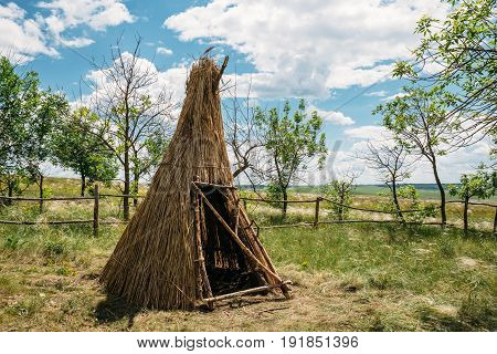 Hut of branches or wickiup or hovel of brushwood and twigs in the countryside, among green grass