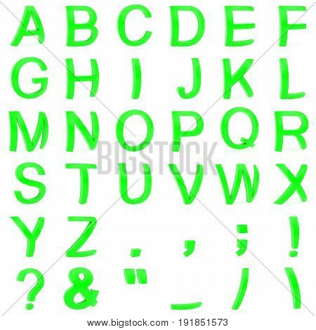Green font from curved 3D capital letters rendered with soft shadows on white background