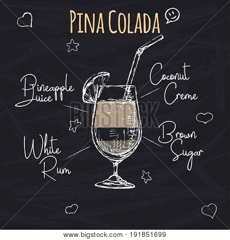 Simple recipe for an alcoholic cocktail Pina Colada. Drawing chalk on a blackboard. Vector illustration of a sketch style.