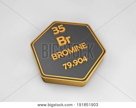 Bromine - Br - chemical element periodic table hexagonal shape 3d render