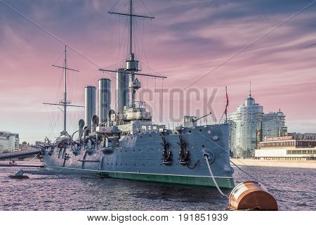 SAINT PETERSBURG, RUSSIA - MAY 23, 2017: Russian cruiser Aurora - Russian protected cruiser at night, now it is museum ship