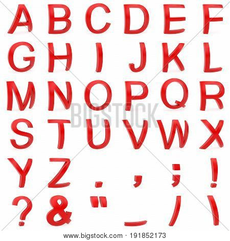 Red font from curved 3D capital letters rendered with soft shadows on white background