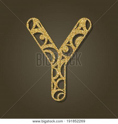 Gold letter Y for laser cutting. English alphabet. Vector illustration.