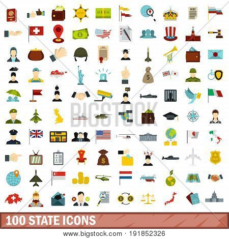 100 state icons set in flat style for any design vector illustration