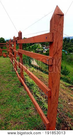 wooden fence to nowhere on a rural farm