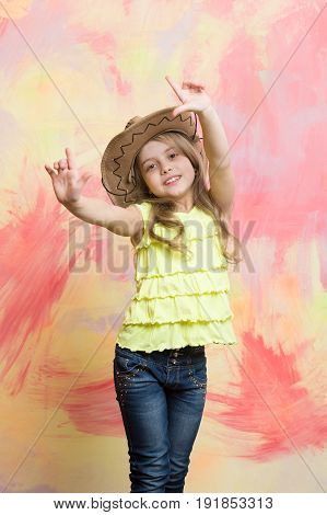 Child Or Little Happy Smiling Girl In Cowboy Hat