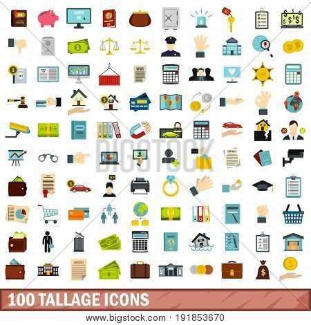 100 tallage icons set in flat style for any design vector illustration