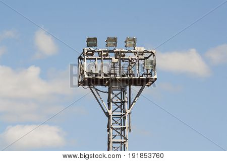 Lighting tower with a lot of searchlights