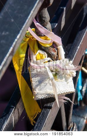 A Single Padlock With Light Ribbons, Decorated With Handmade Artificial Flower