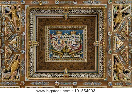 HILLEROD, DENMARK - JUNE 30, 2016: This is a fragment of the ceiling design in the Grand Knight's Hall of the Frederiksborg Castle.