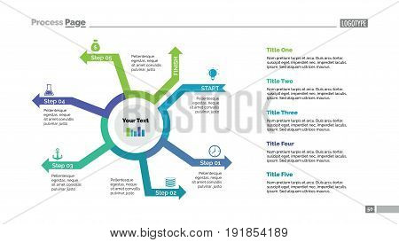 Five steps process chart slide template. Business data. Cycle, diagram, design. Creative concept for infographic, presentation, marketing. Can be used for topics like management, strategy, training.