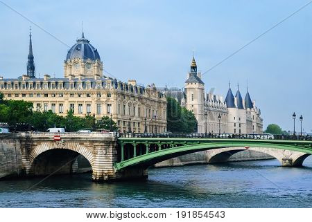 Castle Conciergerie in Paris on the island of Cite on the banks of the Seine the former residence of French kings is now the palace of justice.