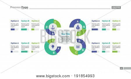 Four branches process mind map slide template. Business data. Chart, graph, diagram. Concept for infographic, templates, presentation, report. Can be used for topics like banking, management, finance.