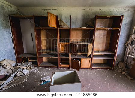 Flat in apartment building in abandoned Pripyat city in Chernobyl Exclusion Zone Ukraine