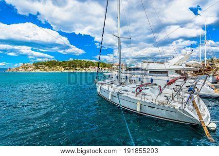 Waterfront view at coastal town Makarska, Croatia, popular travel destination in Europe.
