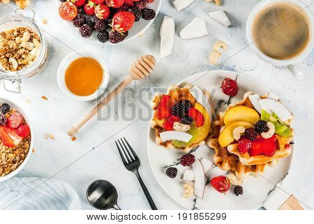 Breakfast With Granola, Wafers And Fruits
