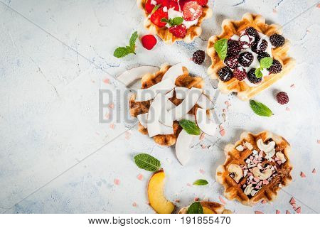 Belgian Wafers With Different Toppings
