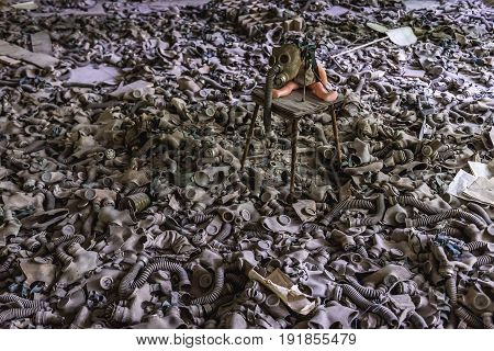 Old gas masks in abandoned school in Pripyat city in Chernobyl Exclusion Zone Ukraine