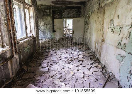 Corridor of abandoned middle school in Pripyat city in Chernobyl Exclusion Zone Ukraine