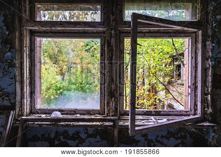 Abandoned school in Pripyat city in Chernobyl Exclusion Zone Ukraine