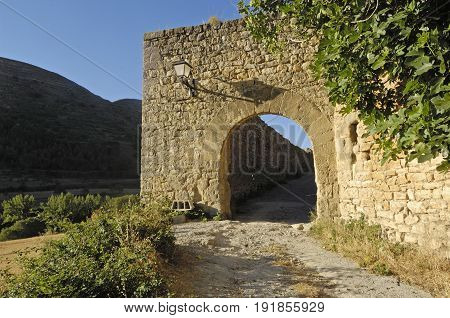 Valero Door In Miramben, Maestrazgo, Castellon Province, Valencian Community, Spain