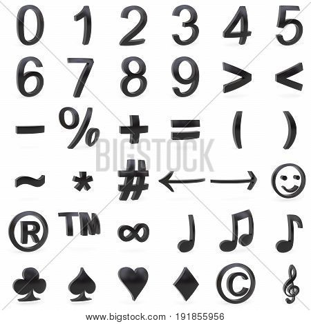 Black curved 3D numbers and symbols rendered with soft shadows on white background
