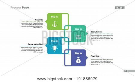 Four elements process chart slide template. Business data. Graph, diagram, design. Creative concept for infographic, presentation, report. Can be used for topics like planning, management, teamwork.