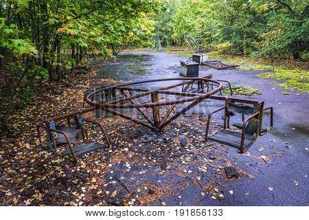 Playground in abandoned Pripyat city in Chernobyl Exclusion Zone Ukraine