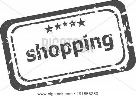 Shopping Stamp In Flat Grunge Style On White Background. Stamp For Quotes To Cards, Banners, Labels
