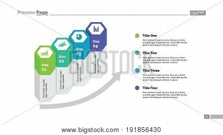 Four hexagon columns process chart slide template. Business data. Arrow, diagram, design. Creative concept for infographic, presentation. Can be used for topics like management, strategy, training.