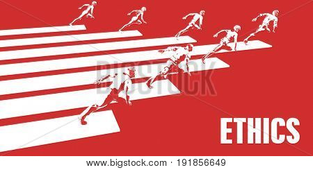 Ethics with Business People Running in a Path 3D Illustration Render